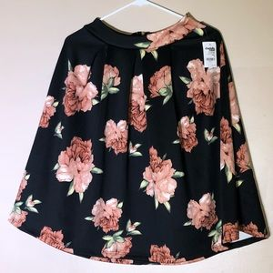 Charlotte Russe Floral Skirt Zipper Closure NWT